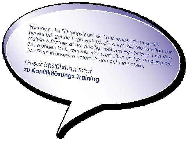 Testimonial der Xact zum Training Konfliktlösung Melters und Partner