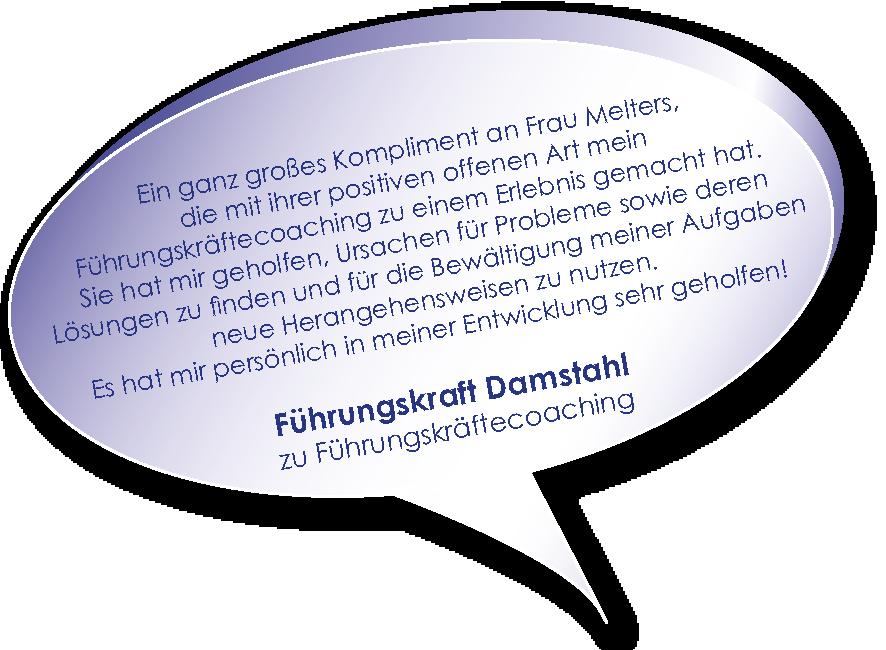 Testimonial einer Führungskraft von Damstahl zum Führungskräftecoaching von Melters und Partner