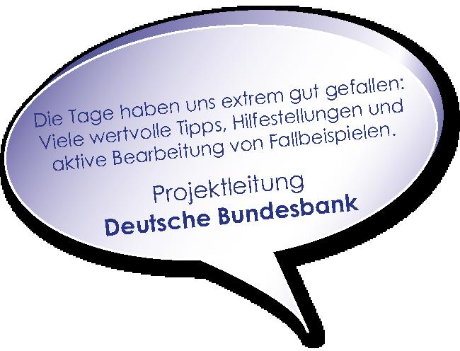 Testimonial der Deutschen Bundesbank zum Coaching zu Projektmarketing mit Melters und Partner